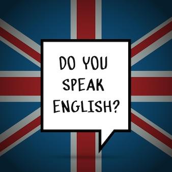 Concetto di studiare l'inglese o viaggiare. frase parli inglese davanti alla bandiera britannica.
