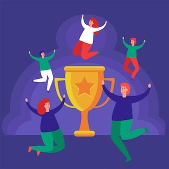 Il concetto di successo negli affari, la leadership, la gioia della vittoria.