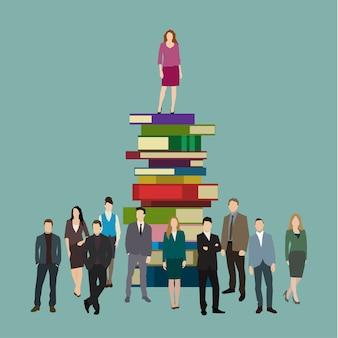 Concetto di successo. donna d'affari sui libri. design piatto, illustrazione