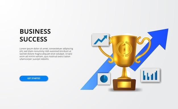 Concetto di crescita aziendale di successo con grafico e trofeo realistico dorato 3d