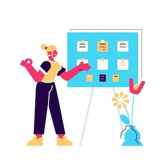 Concetto di completamento dell'attività di successo, pianificazione del lavoro efficace, gestione del tempo.