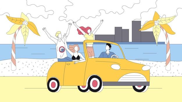 Concetto di vacanze estive. gli amici felici viaggiano in macchina durante le vacanze estive.