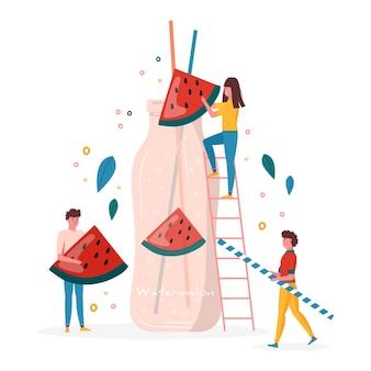 Concetto per la festa estiva, le persone bevono succo di anguria in bottiglia con frutta e bacche. frutta vegana e cocktail detox salutari. bevande, frullati vitaminici per succhi di frutta. vettore alla moda