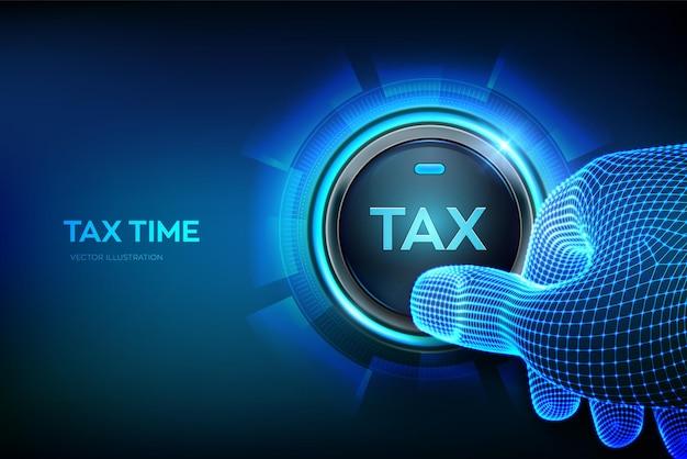 Pagamento delle tasse di concetto. dito del primo piano per premere un pulsante con un'icona fiscale.