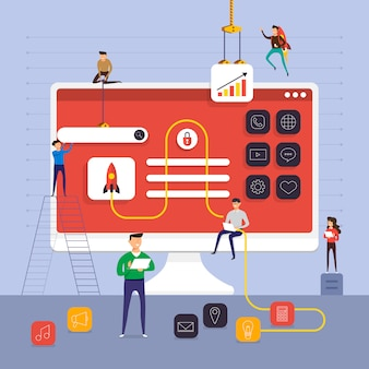 Concetto di squadra che lavora per la creazione di applicazioni sul desktop del computer. illustrare.
