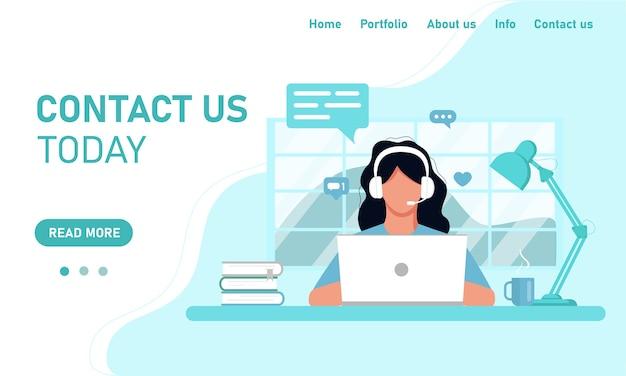 Sito web del modello di concetto e assistenza clienti del servizio clienti di chat banner. ragazza in cuffie operatore che lavora su un computer portatile che lavora da casa in ufficio, formazione online. stile piatto