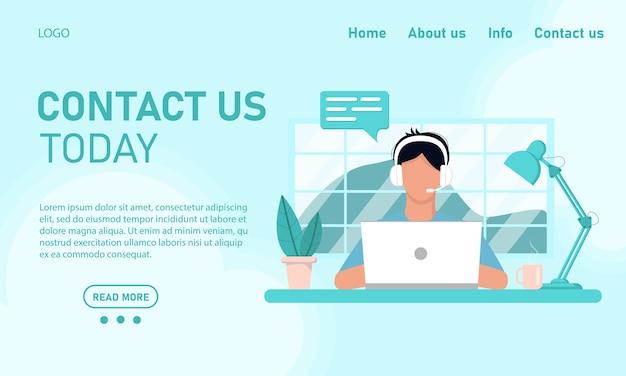 Modello di concetto per il sito web e il supporto del servizio clienti di chat banner. il ragazzo l'operatore dietro il laptop lavora dall'ufficio domestico, formazione online. stile piatto, design