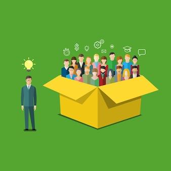 Concetto di pensare fuori dagli schemi. l'uomo d'affari è fuori dagli schemi con le persone. illustrazione vettoriale di design piatto.