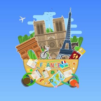 Concetto di viaggio in francia o studio del francese. bandiera francese con punti di riferimento in ufficio. turismo in francia. design piatto, illustrazione vettoriale