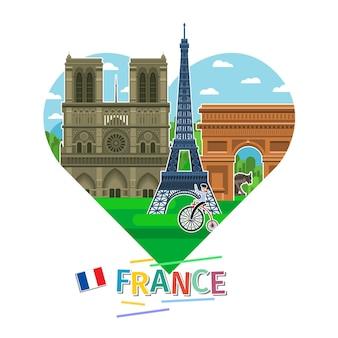 Concetto di viaggio in francia o studio del francese. bandiera francese con punti di riferimento a forma di cuore. design piatto, illustrazione vettoriale