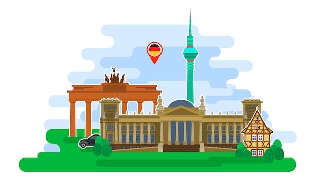 Concetto di viaggio in germania o studio del tedesco. bandiera tedesca con punti di riferimento. design piatto, illustrazione vettoriale