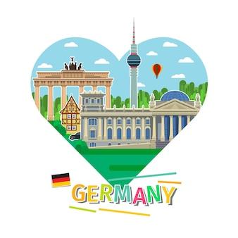 Concetto di viaggio in germania o studio del tedesco. bandiera tedesca con punti di riferimento a forma di cuore. tempo di viaggiare. design piatto, illustrazione vettoriale