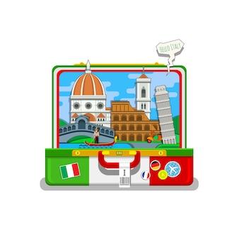 Concetto di viaggio in italia o studio dell'italiano. bandiera italiana con punti di riferimento in valigia aperta. design piatto, illustrazione vettoriale