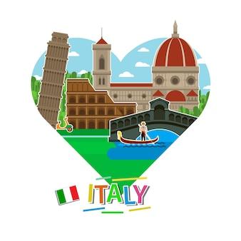Concetto di viaggio in italia o studio dell'italiano. bandiera italiana con punti di riferimento a forma di cuore. turismo in italia. design piatto, illustrazione vettoriale