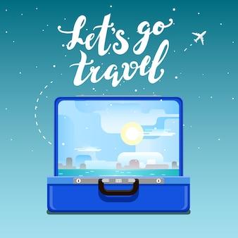 Concetto di viaggio. andiamo a viaggiare. valigia blu aperta con tramonto e palme. design piatto, illustrazione vettoriale.