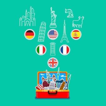 Concetto di viaggio. aprire la valigia arancione con punti di riferimento su sfondo blu. design piatto, illustrazione vettoriale.
