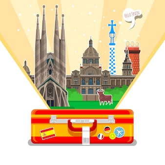 Concetto di viaggio in spagna o di studio della bandiera spagnola spagnola con punti di riferimento in valigia aperta illustrazione vettoriale di design piatto
