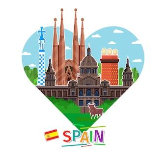 Concetto di viaggio in spagna o studio dello spagnolo. bandiera spagnola con punti di riferimento a forma di cuore. design piatto, illustrazione vettoriale