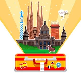 Concetto di viaggio in spagna o studio dello spagnolo. bandiera spagnola con punti di riferimento in valigia. design piatto, illustrazione vettoriale