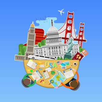 Concetto di viaggio o studio dell'inglese. bandiera americana con punti di riferimento in ufficio. design piatto, illustrazione vettoriale