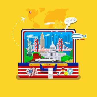 Concetto di viaggio o studio dell'inglese. bandiera americana con punti di riferimento in valigia aperta.
