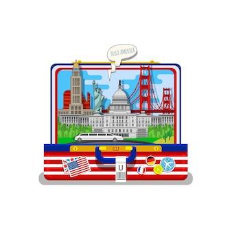 Concetto di viaggio o studio dell'inglese. bandiera americana con punti di riferimento in valigia aperta