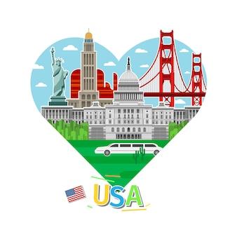 Concetto di viaggio o studio dell'inglese. bandiera americana con punti di riferimento a forma di cuore. design piatto, illustrazione vettoriale