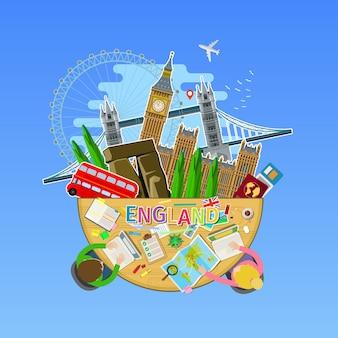 Concetto di viaggio o studio dell'inglese. bandiera inglese con punti di riferimento in ufficio. design piatto, illustrazione vettoriale