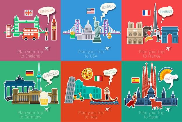 Concetto di viaggio o studio delle lingue. design piatto, illustrazione vettoriale.
