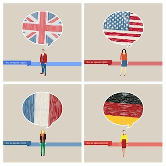 Concetto di viaggio o studio delle lingue impostate. fumetto con bandiere disegnate a mano. inglese, americana, tedesca, francese