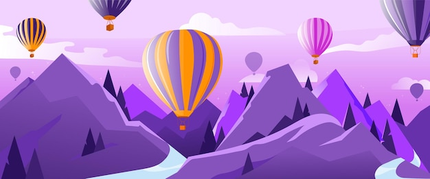 Concetto di viaggio e avventure. molte mongolfiere in aria che volano sopra le montagne in estate. calma e tranquillità. palloncini colorati e nuvole nel cielo. cartoon