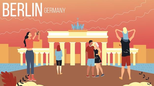 Concetto di viaggio a berlino, germania paesaggio urbano con punti di riferimento. un gruppo di turisti prenota un tour, goditi i panorami, scatta una foto, i personaggi si divertono insieme. illustrazione di vettore di stile piano del fumetto.