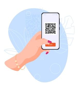 Il concetto di utilizzo di un telefono smartphone nelle mani esegue la scansione del codice qr illustrazione