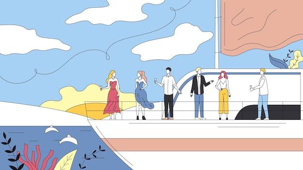 Concetto di vacanze sulla nave da crociera. gente sorridente che fa festa sulla nave traghetto yacht, bere alcolici.