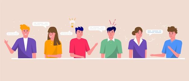 Concetto di videoconferenza, chat e spazio di lavoro per riunioni online. modello di progettazione con uomini d'affari che prendono, marketing, volantini, pubblicità, brochure, vettore di stile moderno.