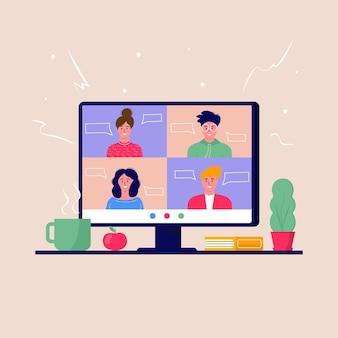 Concetto di videoconferenza e spazio di lavoro per riunioni online. modello di progettazione con uomini d'affari che prendono, istruzione, relazione, volantino, marketing, volantino, pubblicità, brochure, vettore di stile moderno.