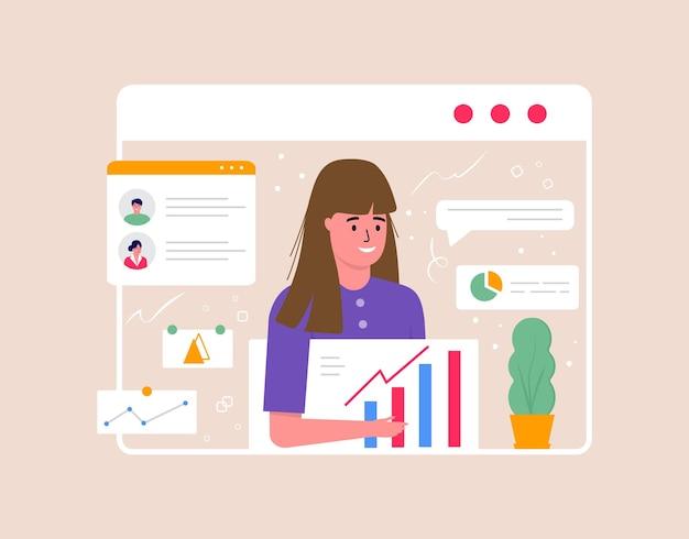 Concetto di videoconferenza e spazio di lavoro per riunioni online. modello di design con persone d'affari che prendono, pianificazione strategica, report, flyer, marketing, volantino, pubblicità, brochure, vettore di stile moderno.