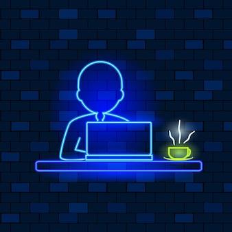 Concetto di icone al neon vip, lavoro freelance e brainstorming.