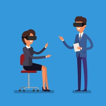 Concetto di realtà virtuale. gente di affari del fumetto che utilizza l'auricolare per realtà virtuale.