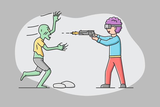 Concetto di realtà virtuale, giocare. man in goggles gioca a real time vr game.