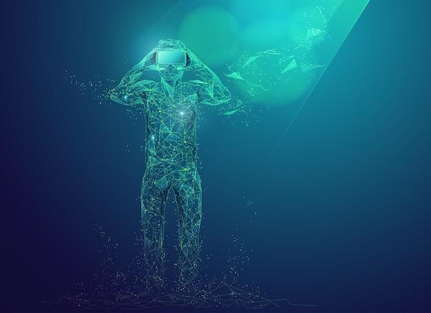 Concetto di tecnologia di realtà virtuale, grafica di un uomo che indossa un auricolare vr presentato in stile poligono