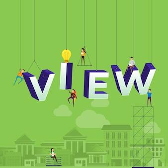 Concept vlog. il team sviluppa il video del canale online. illustrare.