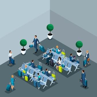 Concetto di sala d'attesa dell'aeroporto internazionale, zona di transito, donne d'affari e uomini d'affari in viaggio d'affari