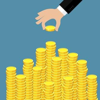 Concetto di ricchezza. la mano ha messo la moneta alla scala dei soldi. design piatto