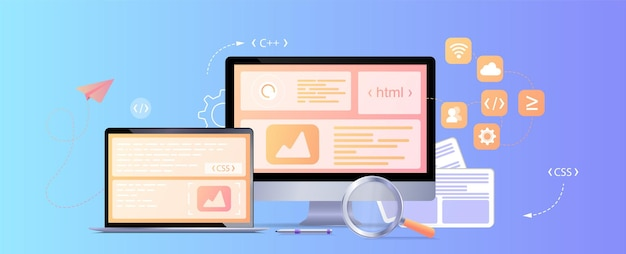 Sviluppo della pagina del sito web del concept web design il processo di lavoropagina di destinazione del modello per il sito web