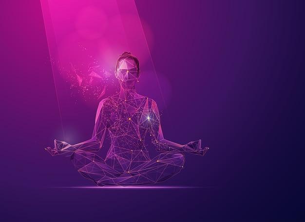Concetto di benessere della mente, grafica della ragazza poligonale in posa di meditazione