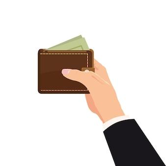 Concetto con mano e portafoglio pieno di soldi.