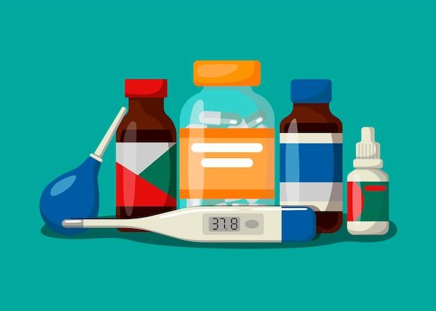 Concetto con farmaci su sfondo blu. stile cartone animato
