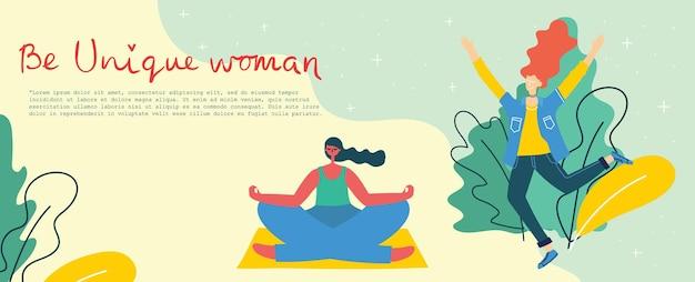 Concetto di fondo unico delle donne. carta di illustrazione vettoriale moderna ed elegante con donna femmina felice e citazione di disegno a mano sii unico