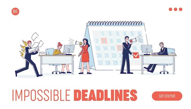 Concetto di scadenze di lavoro. pagina di destinazione del sito web.